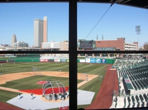 View from inside press box