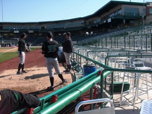 Left Field Patio Tables; notice how close they are to field and bullpen
