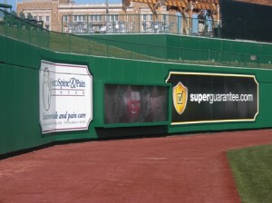 One of two outfield video boards