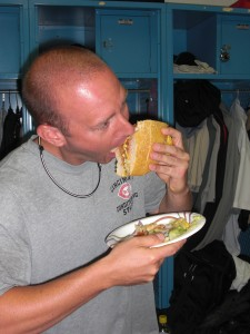 Nigel enjoys his burger