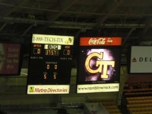 Scoreboard and Video screen. One in each endzone