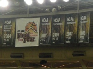 Championship Banners hanging from the rafters