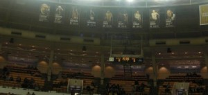 Retired numbers hanging from the rafters