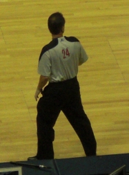I wish all basketball refs would wear the traditional black and white strip shirts.  Enough trying to be stylish with the different color adidas tops.
