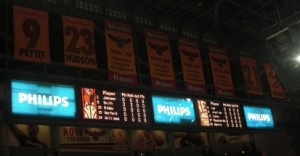 Endboards gave individual stats.  Also Hawks banners hang above